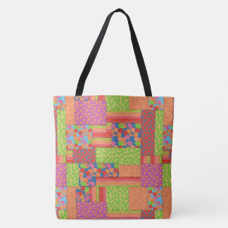 Colourful Faux Patchwork of Summer Fruits Patterns Tote Bag