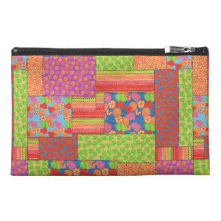 Colourful Faux Patchwork of Summer Fruits Patterns Travel Accessory Bag