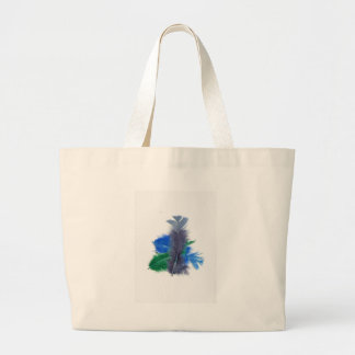 colourful feathers blue bag