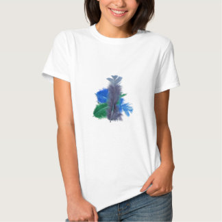 colourful feathers blue shirt