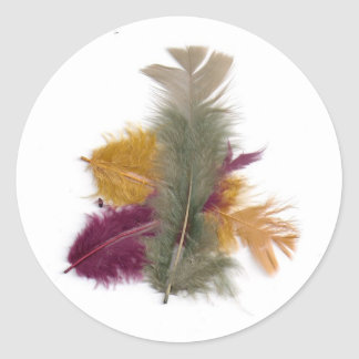colourful feathers classic round sticker
