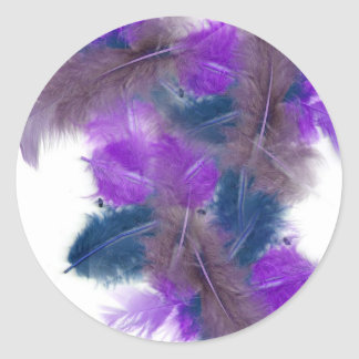 colourful feathers copy3 classic round sticker