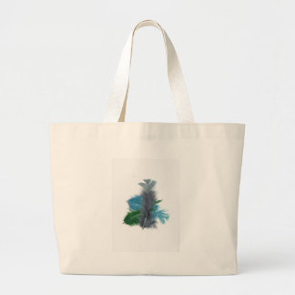 colourful feathers grey canvas bag