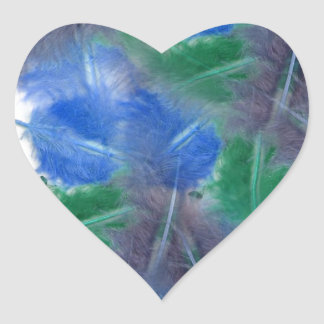 colourful feathers heart sticker