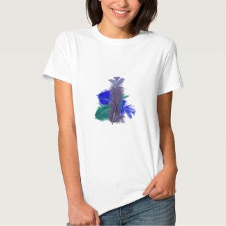 colourful feathers purple tee shirt