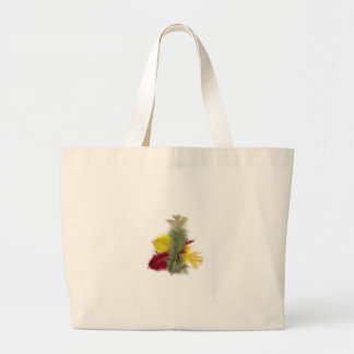 colourful feathers yellow red bag