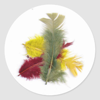 colourful feathers yellow red classic round sticker