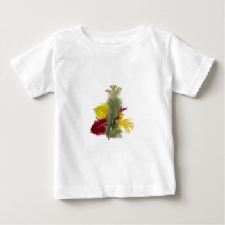 colourful feathers yellow red t-shirt