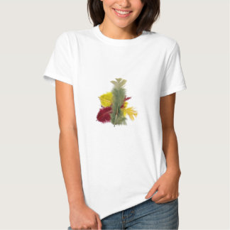colourful feathers yellow red tee shirt
