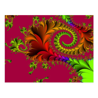 Colourful Feathery Fractal Swirls Postcard