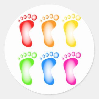 Colourful Feet Round Sticker