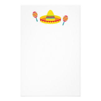Colourful Fiesta Sombrero Hat Maracas Stationery