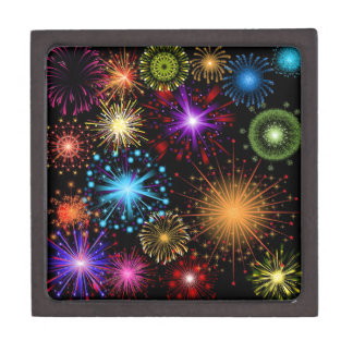 Colourful fireworks New Year Gift Box