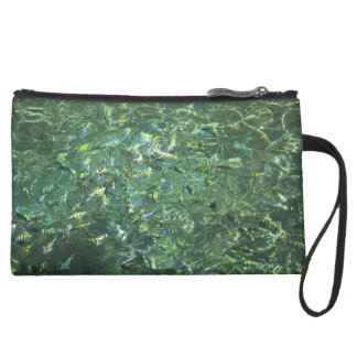 Colourful fish in clear water in Saint Lucia Suede Wristlet