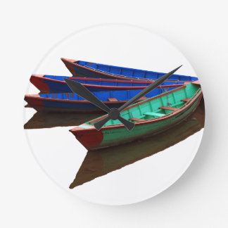 Colourful Fishing Boats Round Clock