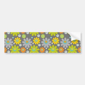 colourful floral pattern blue green orange grey bumper sticker
