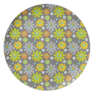 colourful floral pattern blue green orange grey plates