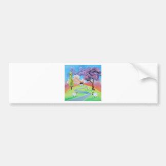 Colourful folk landscape picture of sheep car bumper sticker