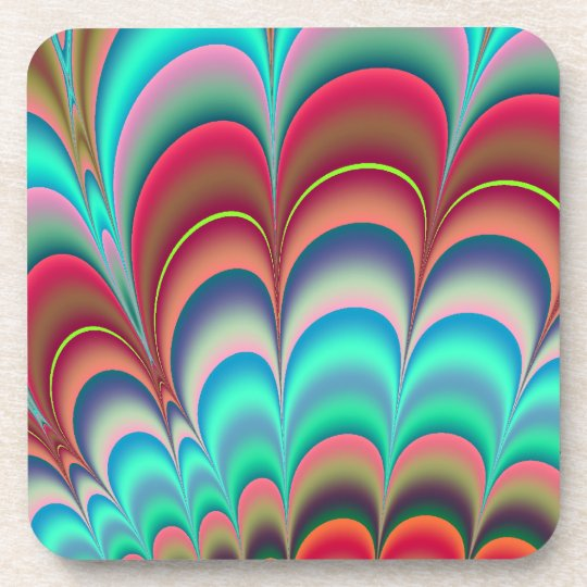 Colourful fractal abstract design beverage coaster