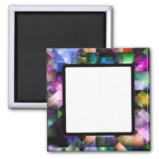 Colourful Fractal Jewels 2 Inch Square Magnet