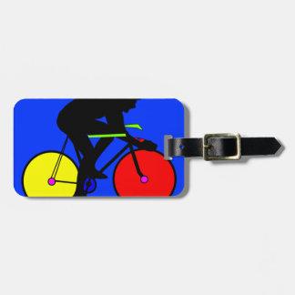 Colourful funky multi coloured bike bag tag