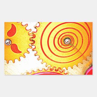Colourful Gear Art Print Rectangular Sticker