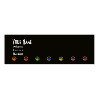 COLOURFUL GEM STONES BLACK  WHITE PINK MONOGRAM, Double-Sided MINI BUSINESS CARDS (Pack OF 20)