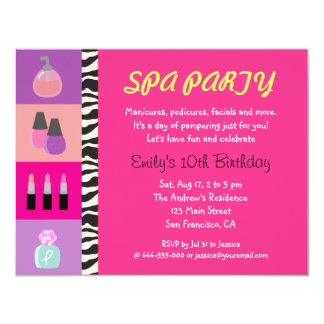 Colourful Girly Spa Birthday Party Invitation