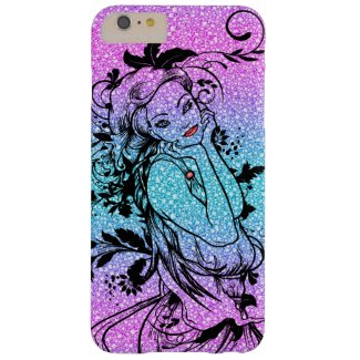 Colourful Glitter Floral Girl Illustration Barely There iPhone 6 Plus Case