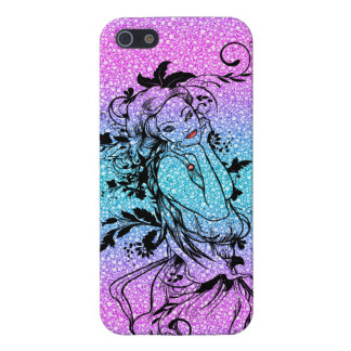 Colourful Glitter Floral Girl Illustration Case For iPhone SE/5/5s