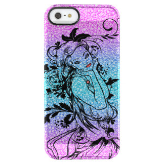 Colourful Glitter Floral Girl Illustration Clear iPhone SE/5/5s Case