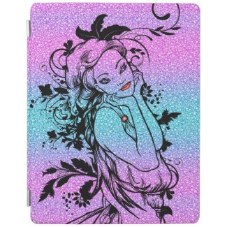 Colourful Glitter Floral Girl Illustration iPad Cover