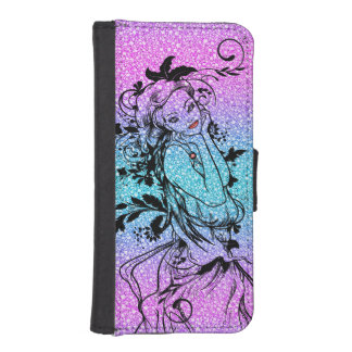 Colourful Glitter Floral Girl Illustration iPhone SE/5/5s Wallet