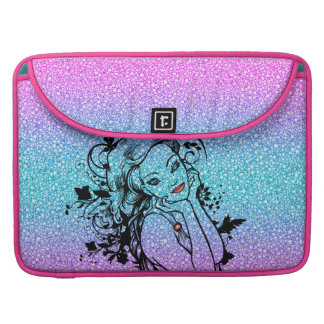 Colourful Glitter Floral Girl Illustration MacBook Pro Sleeves