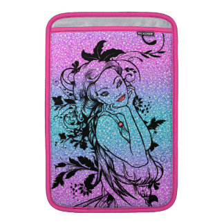 Colourful Glitter Floral Girl Illustration MacBook Sleeve