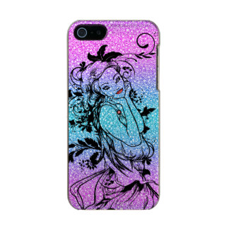 Colourful Glitter Floral Girl Illustration Metallic iPhone SE/5/5s Case