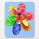 colourful glowing  flower with cute ladybug pad mouse pad
