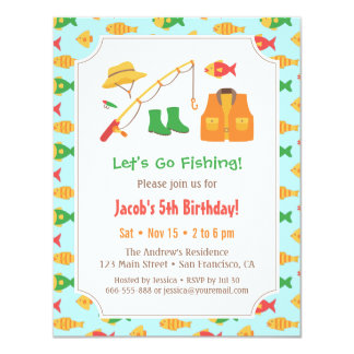 Fishing invitations announcements zazzle for Fishing birthday party invitations