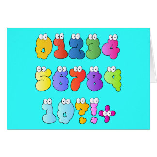 COLOURFUL GOOGLY EYE NUMBERS BUBBLY FUN KIDS EDUCA CARD