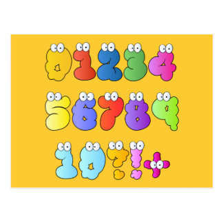 COLOURFUL GOOGLY EYE NUMBERS BUBBLY FUN KIDS EDUCA POSTCARD