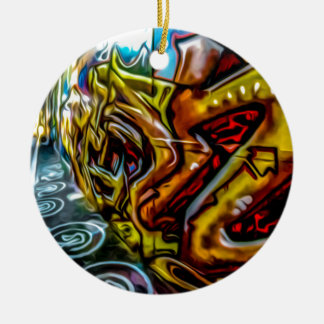 Colourful Graffiti Art Double-Sided Ceramic Round Christmas Ornament