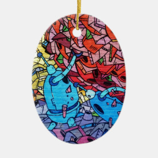 Colourful Graffiti Art Double-Sided Oval Ceramic Christmas Ornament