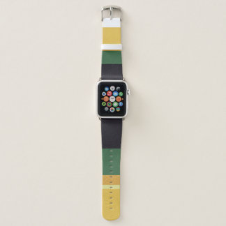 COLOURFUL GREEN CREAM YELLOW NAVY VINTAGE STRIPS APPLE WATCH BAND