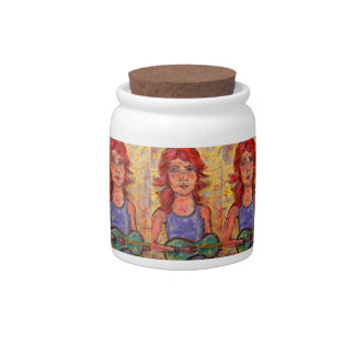 colourful guitar girl candy jars