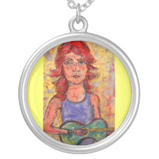 colourful guitar girl round pendant necklace