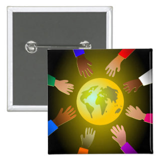 Colourful Hands 2 Inch Square Button