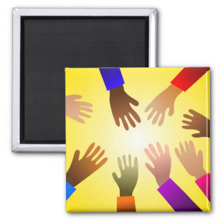 Colourful Hands 2 Inch Square Magnet