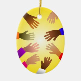 Colourful Hands Ceramic Ornament