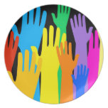 Colourful Hands Party Plate