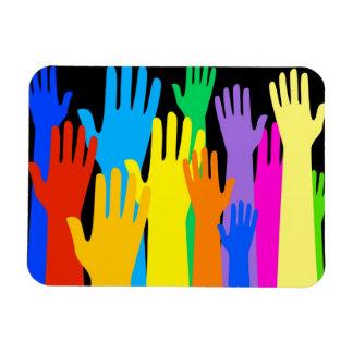Colourful Hands Rectangular Photo Magnet